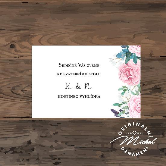 Pozvánka ke svatebnímu stolu - TYP 157