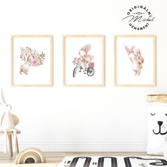 Plakát set zajíček holčičky
