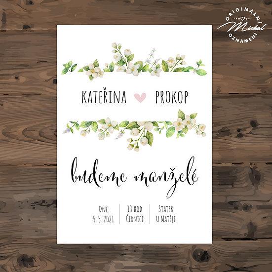 Svatební oznámení, jarní, veselé, zelené, lístky s květy