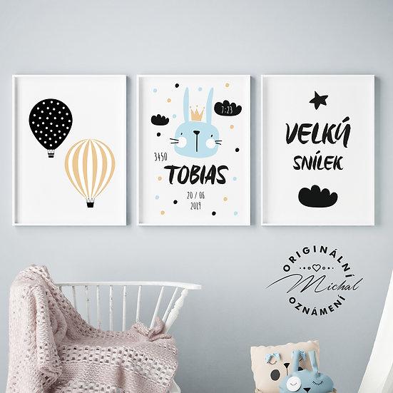 Plakáty s údaji narození - chlapeček - set