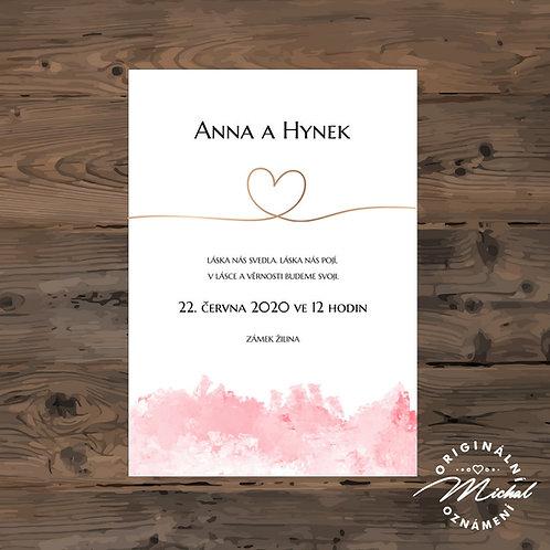 Svatební oznámení, růžové svatební oznámení, oznámení se srdíčkem