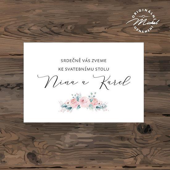 Pozvánka ke svatebnímu stolu - TYP 310
