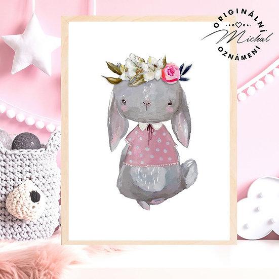 Plakát zajíček zajíčková slečna Gituška