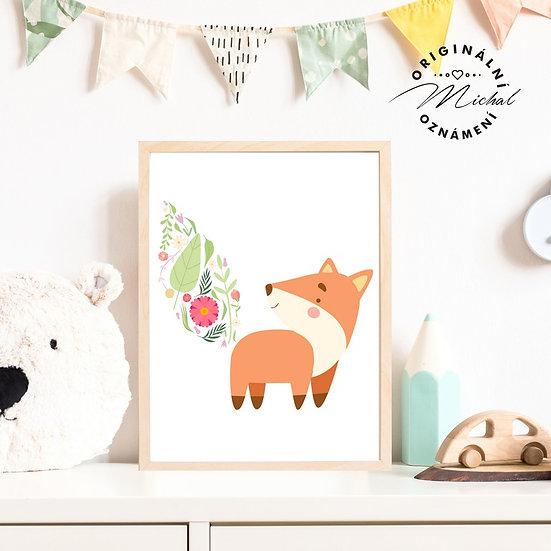 Plakát roztomilý lišák liška