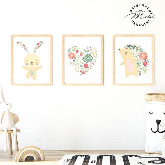Plakát set zvířátka s květy
