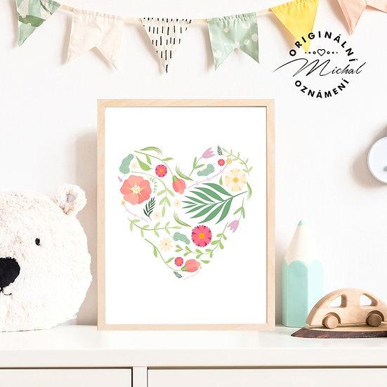 Plakát srdíčko s květy