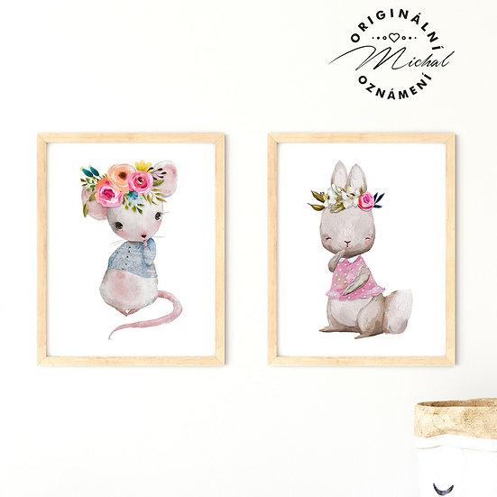 Plakát myška a zajíček pro holčičky