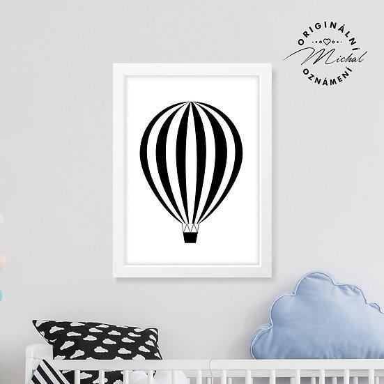 Létající balón proužky – plakát