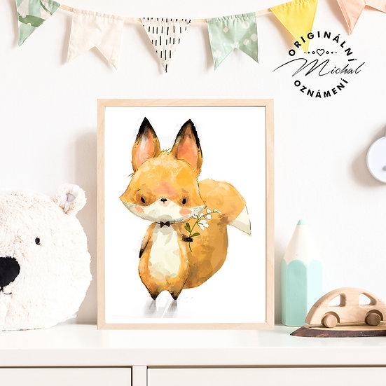 Plakát zvířátko s květinkou