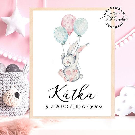 Plakát zajíček s balónky pro děti se jménem