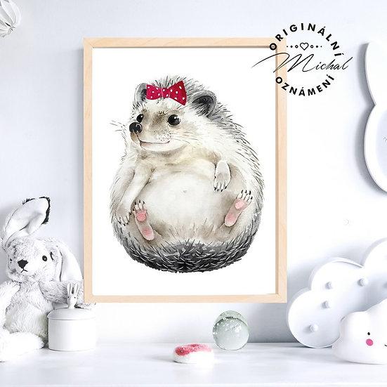 Plakát ježek ježčí holčička Mašlička