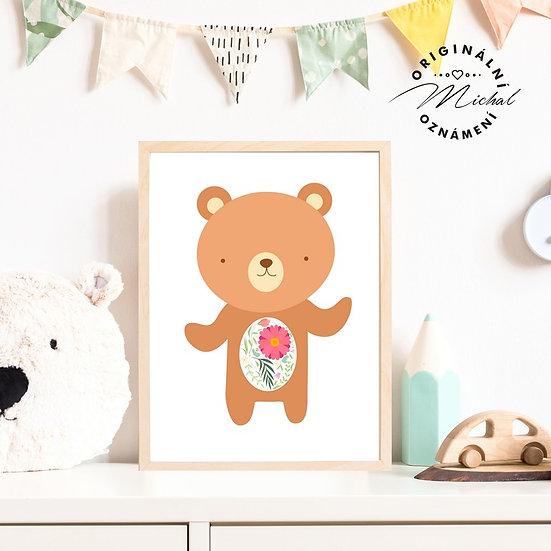 Plakát medvídek s květy