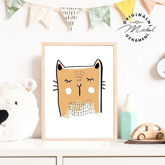 Plakát moderní kočička pro děti