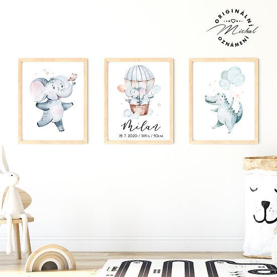 Plakát set  milá zvířátka pro kluky se jménem
