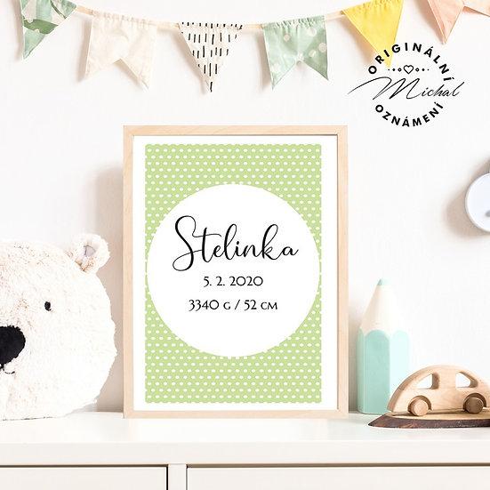Plakát s údaji narození 11