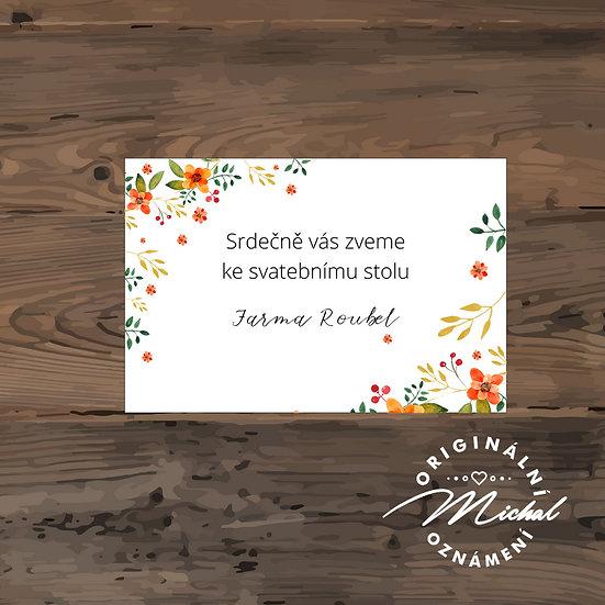 Pozvánka ke svatebnímu stolu - TYP 178