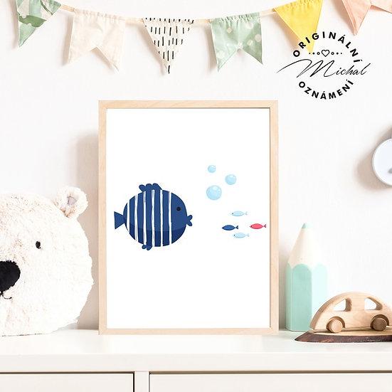 Plakát námořnický styl ryba