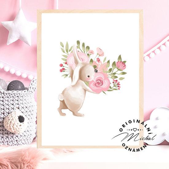 Plakát zajíček květinka