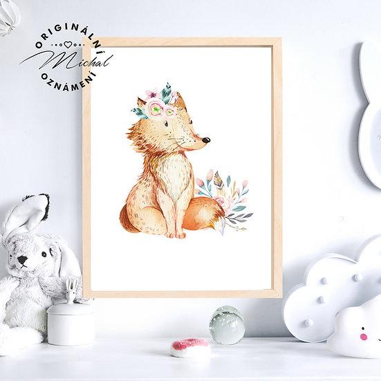 Plakát liška s kytičkami
