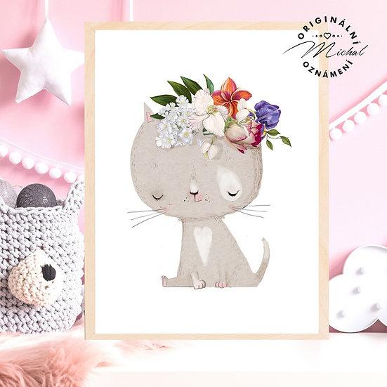 Plakát kočička Květinka