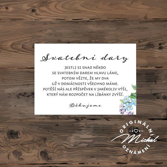 Svatební dary kartička básnička text