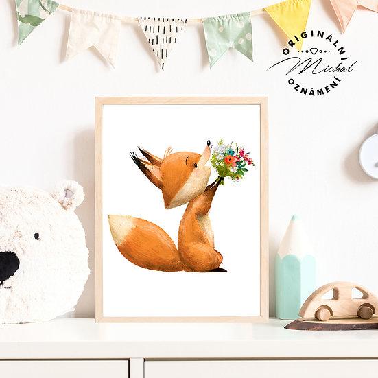 Plakát lišák s květy Ondra
