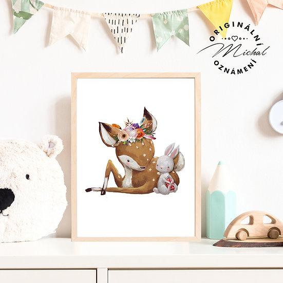 Plakát srnečka a zajíček
