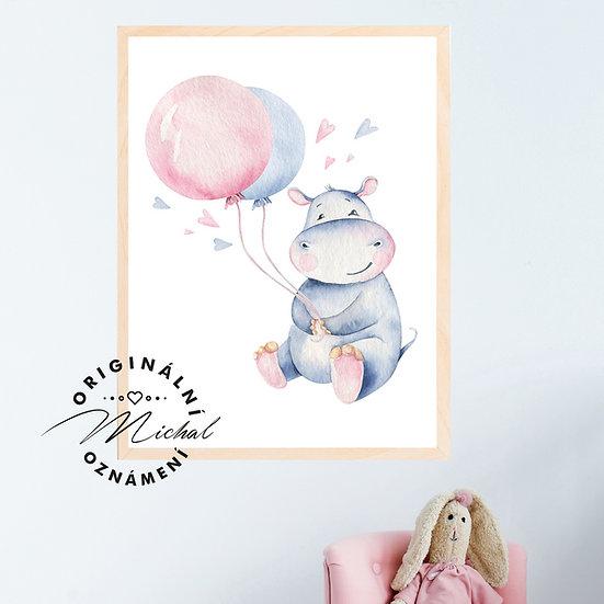 Plakát hrošík s balónky