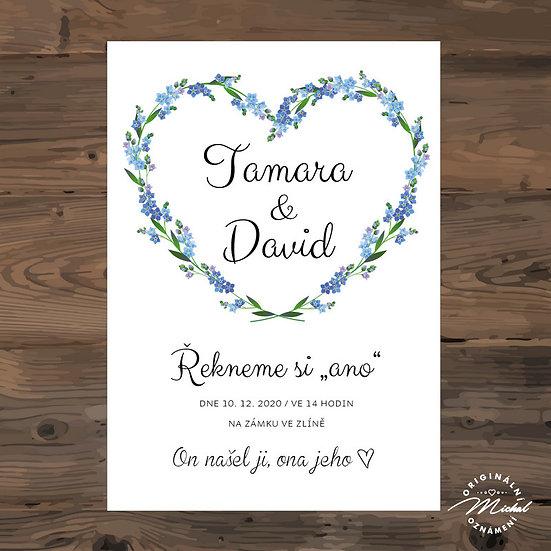 Svatební oznámení, modré srdce, květiny, jemné, romantické