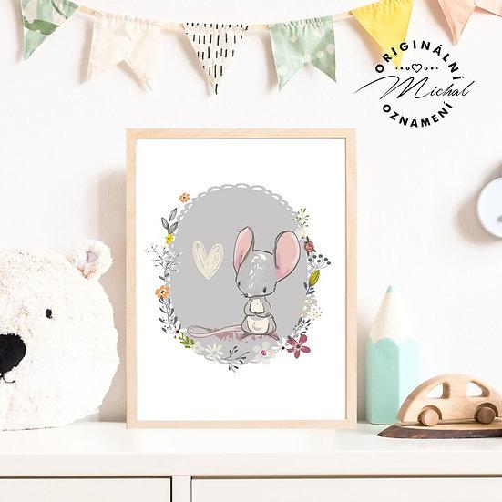 Plakát Myšička myš srdíčko