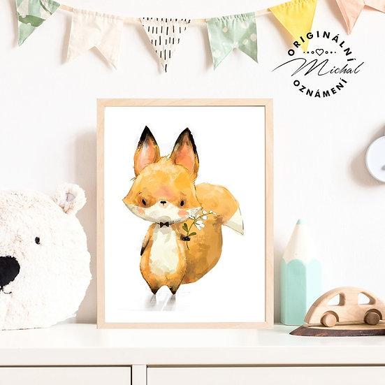 Plakát Lišák liška s kopretinou