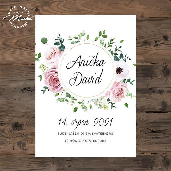 Svatební oznámení s květy, věneček