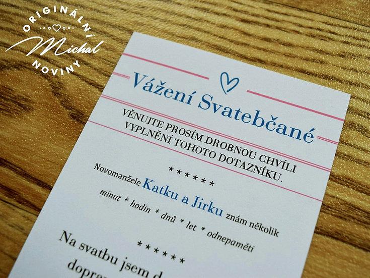 Svatební dotazník - TYP 14 - modrý