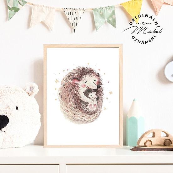Plakát ježeček s maminkou ježek