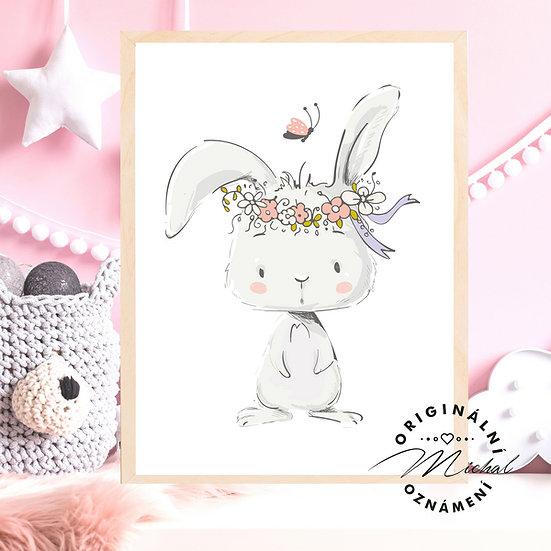 Plakát zajíček s kytičkami