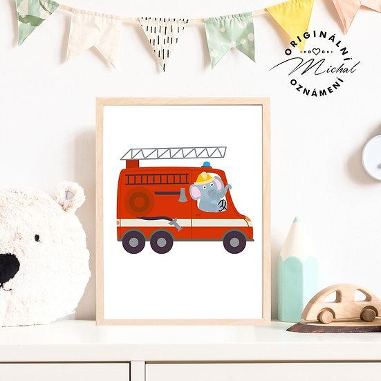 Plakát hasičský vůz hasiči