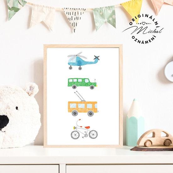 Plakát dopravní prostředky letadlo kolo