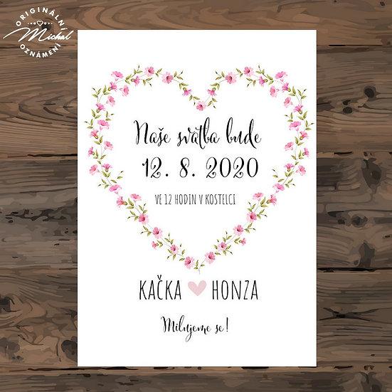 Svatební oznámení, růžové květiny, srdce, srdíčko