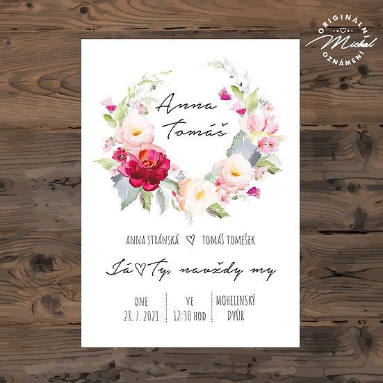 Svatební oznámení, věneček s červenými květy, pivoňky