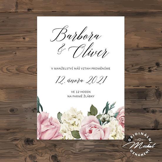 Svatební oznámení, oznámení s květy