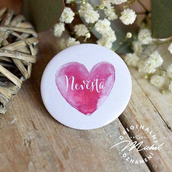 Svatební placka, svatební placky, tým nevěsty, tým ženicha, rozlučka, jména svatebčanů, vývazky