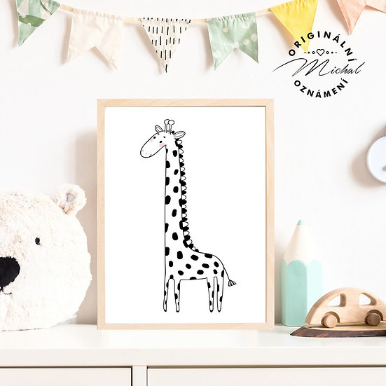 Plakát žirafa moderní