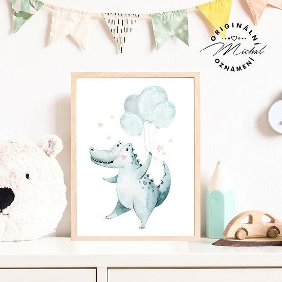 Plakát veselý krokodýl s balonky