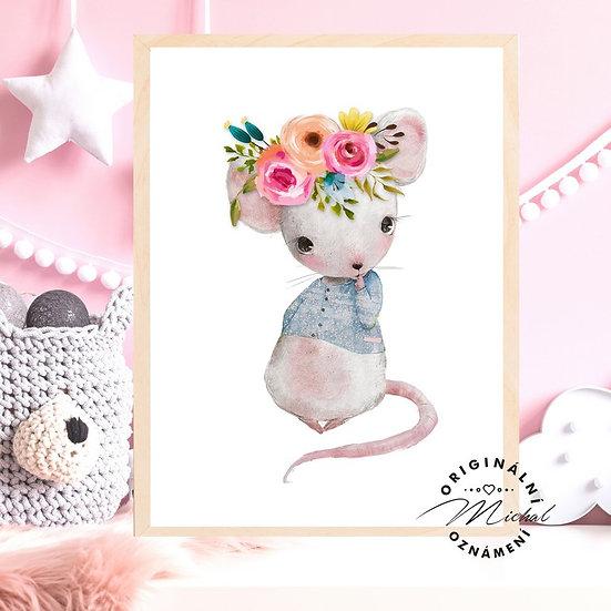 Plakát myš myška s květy