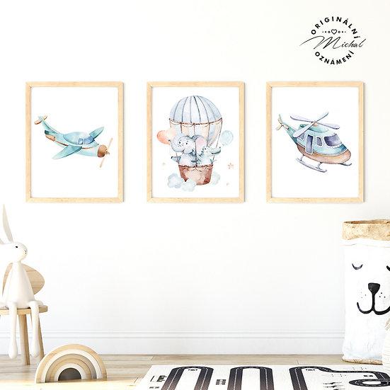Plakát set pro kluky dopravní prostředky letadla a balón