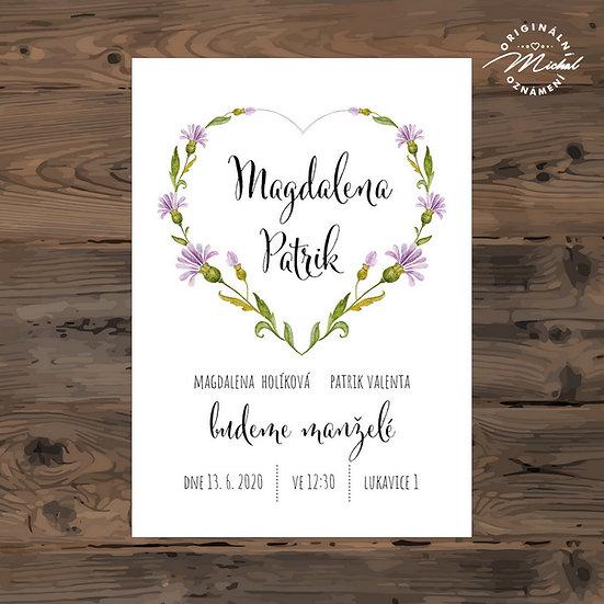 Svatební oznámení, srdce, přírodní svatební oznámení