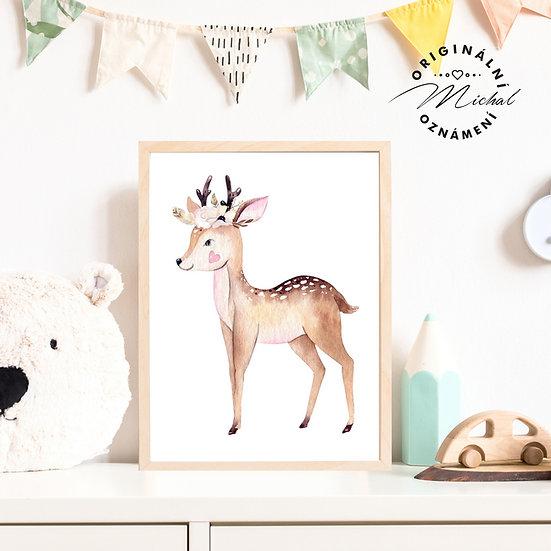 Plakát srnečka s věncem les