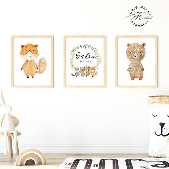 Plakát set lesní zvířátka a věnec se jménem