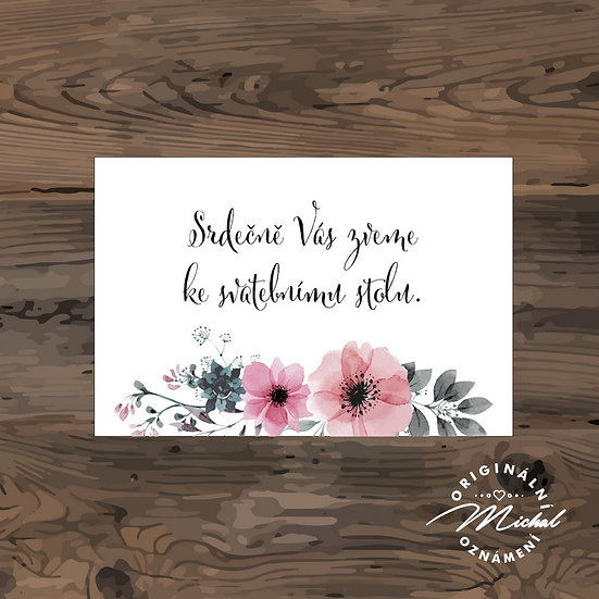 Pozvánka ke svatebnímu stolu - TYP 221