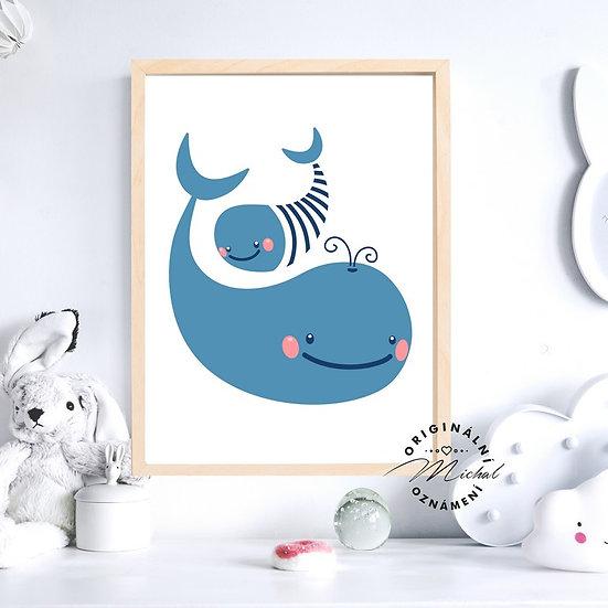 Plakát táta a máma velrybka velryba